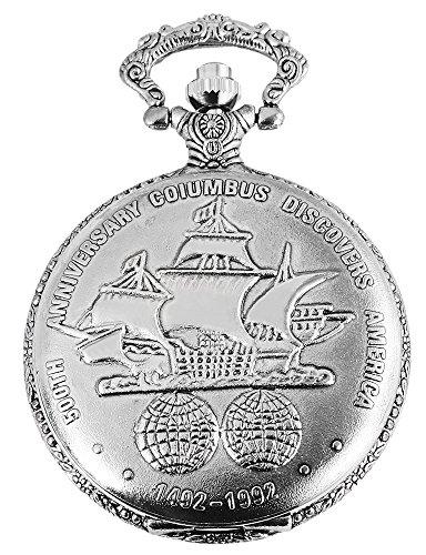 Elegante Taschenuhr Weiss Silber Columbus Schiff Metall Analog Quarz
