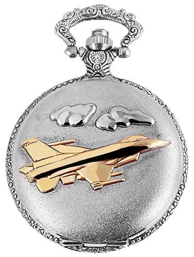 Elegante Taschenuhr Weiss Silber Gold Flugzeug Jet Metall Analog Quarz