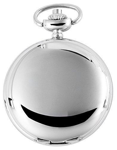 Elegante Taschenuhr Weiss Silber Glaenzend Analog Quarz Herrenuhr