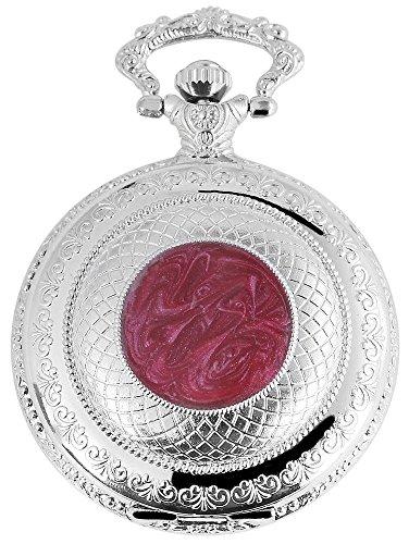 Elegante Taschenuhr Weiss Silber Rot Metall Analog Quarz