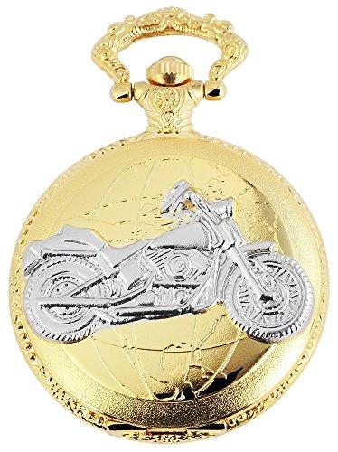 Elegante Taschenuhr Weiss Gold Silber Motorrad Bike Analog Quarz