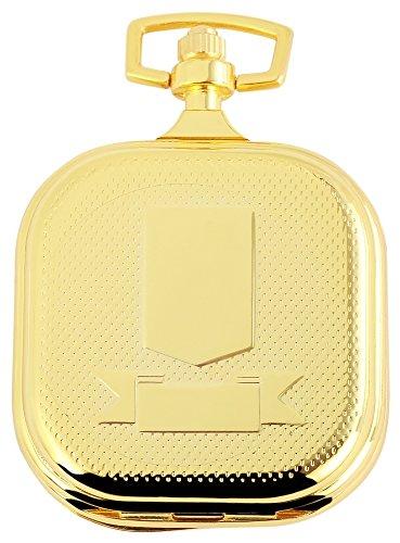 Elegante Taschenuhr Weiss Gold Wappen Metall Analog Quarz