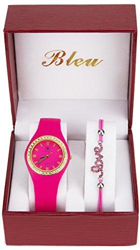 Geschenkset Damen Armbanduhr Maedchenuhr Rosa Strass Armband LOVE Perlen