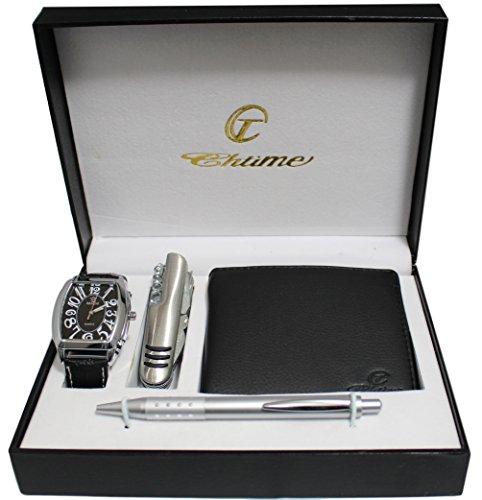 Geschenkset Herren Armbanduhr mit Multifunktions Messer Brieftasche und Stift