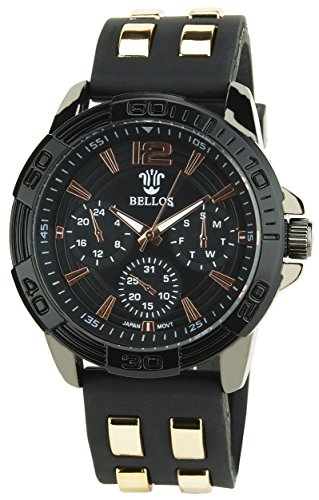 BELLOS Herren Armbanduhr Schwarz Quarz Stahlgehaeuse Analog Anzeige Silikon Armband Schwarz Gold
