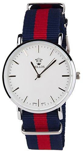 BELLOS Herren Armbanduhr weiss Quarz Stahlgehaeuse Analog Anzeige Nylon Blau Rot Armband