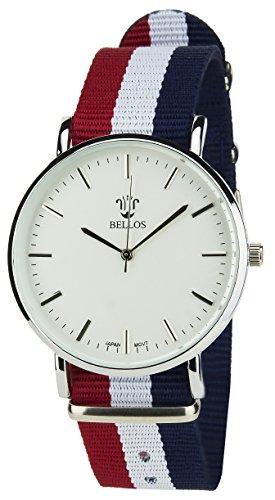 BELLOS Herren Armbanduhr weiss Quarz Stahlgehaeuse Analog Anzeige Nylon Armband Mehrfarben