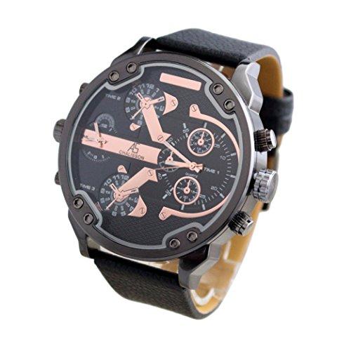 Herren Armbanduhr mit Grossem Zifferblatt XXL und doppelter Anzeige GD