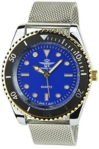 Michael john montre Herren soldes Valentinstag Blau Gold Quartz Gehaeuse Stahl Armband Stahl Silber