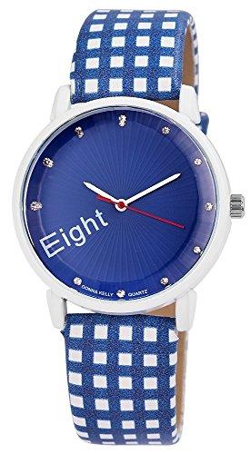 Modische Damenuhr Blau Weiss Magic Cubes Analog Metall Leder Strass Armbanduhr Quarz Uhr