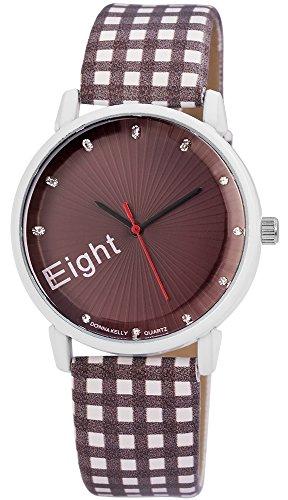 Modische Braun Weiss Magic Cubes Analog Metall Leder Strass Armbanduhr Quarz Uhr