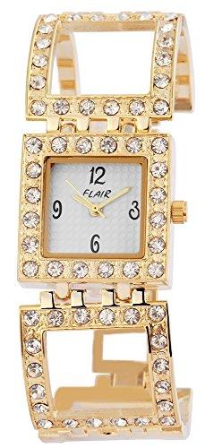 Modische Gold Weiss Analog Metall Strass Modeuhr Armbanduhr Quarz Uhr