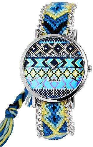 Modische Blau Gelb Indian Summer Analog Metall Textil Armbanduhr Quarz Uhr