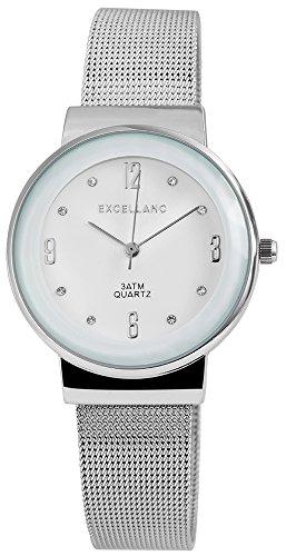 Modische Weiss Silber Analog Metall Meschband Armbanduhr Quarz Modeuhr