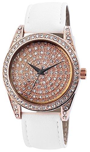 Modische Damenuhr Rose Gold Weiss Analog Metall Leder Strass Armbanduhr Quarz Uhr