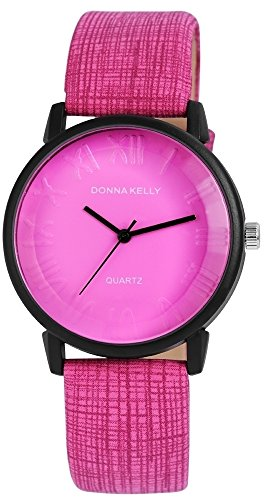 Modische Pink Schwarz Analog Metall Leder Armbanduhr Quarz Uhr