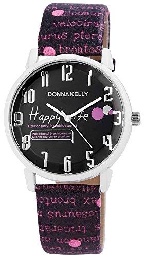 Modische Schwarz Weiss Happy Life Analog Metall Leder Armbanduhr Quarz Uhr