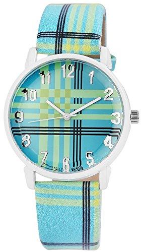 Modische Blau Gruen Schwarz Weiss Modern Lines Analog Metall Leder Strass Armbanduhr Quarz Uhr