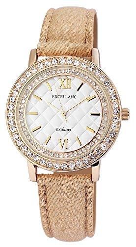 Modische Silber Gold Beige Analog Metall Textil Leder Strass Armbanduhr Quarz Uhr
