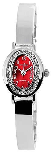 Modische Damenuhr Rot Silber Analog Metall Strass Armbanduhr Quarz Uhr