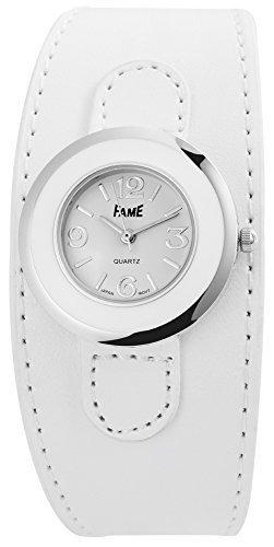 Modische Weiss Silber Analog Metall Leder Armbanduhr Mode Quarz Uhr
