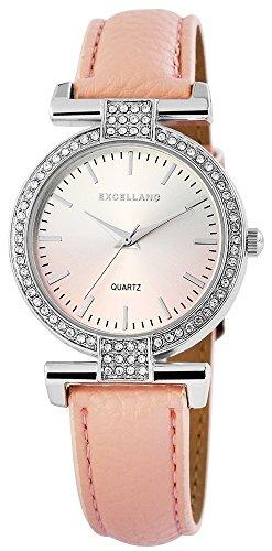Modische Silber Rosa Analog Metall Leder Strass Armbanduhr Quarz Uhr