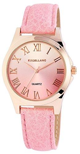 Modische Rosa Silber Rose Gold Analog Metall Leder Armbanduhr Quarz Uhr