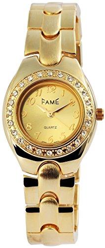 Modische Gold Strass Analog Metall Armbanduhr Quarz Modeuhr