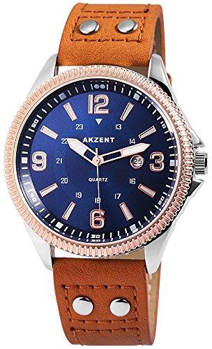 Modische Blau Braun Analog Metall Leder Datum Armbanduhr Quarz Uhr