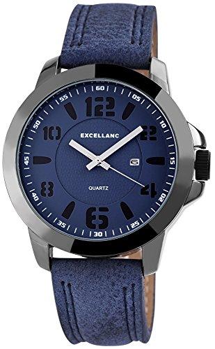 Modische Blau Schwarz Analog Metall Leder Datum Armbanduhr Quarz Uhr