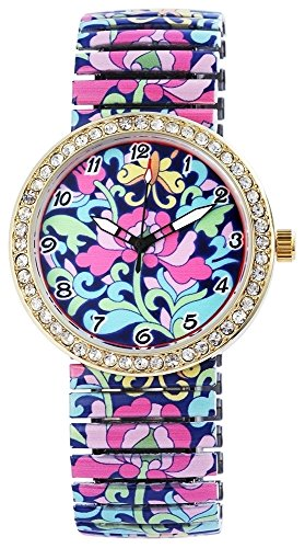 Zugband Lila Rosa Gelb Gold Magic Flower Zugbanduhr Strass Analog Metall Armbanduhr Zugarmbanduhr