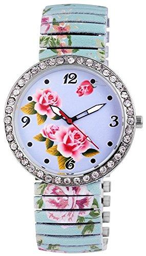 Zugband Damenuhr Blau Rosa Gruen Flower Power Blume Zugbanduhr Strass Analog Metall Armbanduhr Zugarmbanduhr