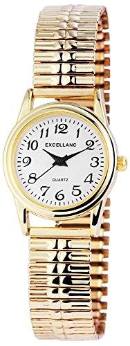 Zugband Weiss Gold Zugbanduhr Analog Metall Armbanduhr Zugarmbanduhr