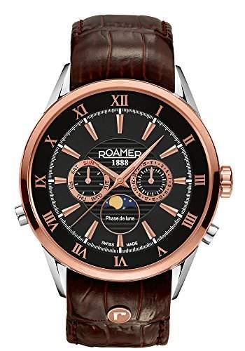 Roamer of Switzerland Herren-Armbanduhr Superior Moonphase Chronograph Quarz Leder 508821 49 53 05