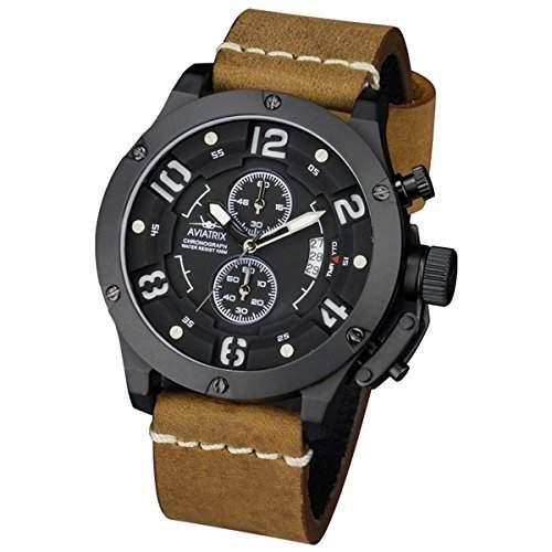 INFANTRY Herrenuhr-Armbanduhr Quarzuhr Echt Leder Quarz Analog Uhren schwarz Herren Uhr 100M Wasserdicht