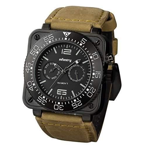 INFANTRY Herren Armbanduhr ISA SWISS Quarz Uhrwerk Analog Flieger Pilot Armee Sportuhr