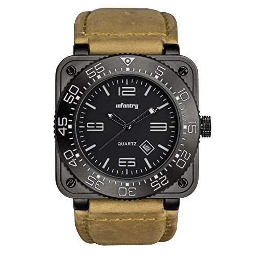 INFANTRY Herren-Armbanduhr Datumsanzeiger Quarz Analog Uhrwerk Flieger uhren Militaer Stil Wasserdicht Uhr