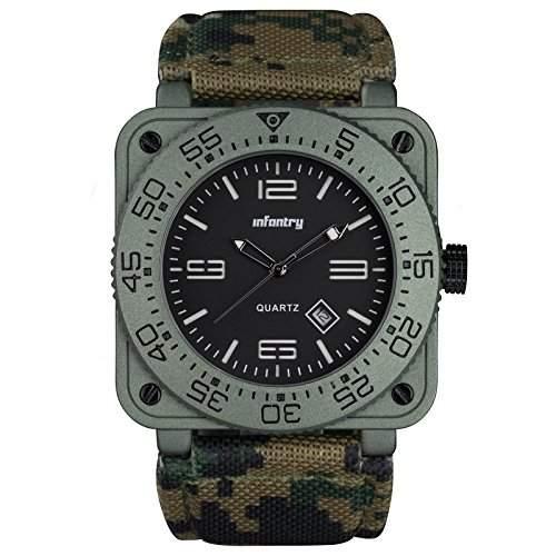 INFANTRY Herrenuhr Armbanduhr Quarz Analog Uhrwerk Echtleder Armband Edelstahl Gehaeuse Luxus Sportuhr
