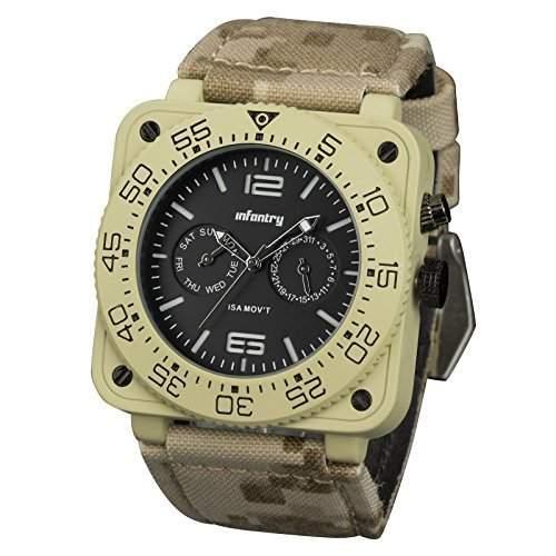 INFANTRY Herren Armbanduhr ISA SWISS Quarz Uhrwerk 304L Edelstahl Sportuhr mit Strass Glas