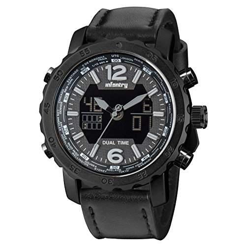 INFANTRY Herrenuhr Quarz Digital Uhr Armbanduhr russisch Stil laessig Trend Sportuhr Wasserdicht 30M
