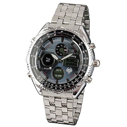 INFANTRY Edelstahl Armband Uhren Herren LCD Uhr Stoppuhr Digital Analog Dualwerk Fliegeruhren