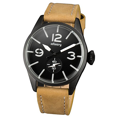 INFANTRY Armbanduhr Analog Quarz Uhr Leder Armband Modisch Fliegeruhren Pilot Kratzfest Glas