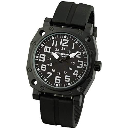 INFANTRY Herren-Armbanduhr Quarzuhr uhren herrenuhr Schwarz Edelstahl Analog Uhr Gummi Uhrenband