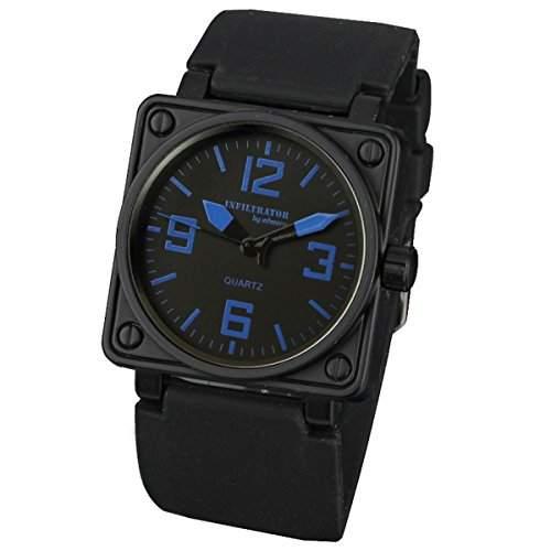 INFANTRY Herren-Armbanduhr Uhr Quarz Armbanduhr Herrenuhr Schwarz Sportuhr Edelstahl Uhren