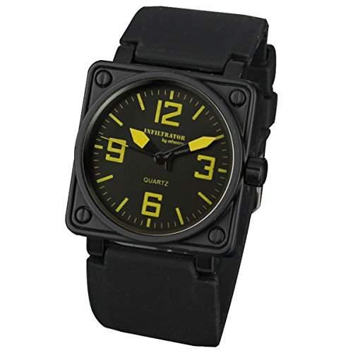 INFANTRY Herren-Armbanduhr Uhr Schwarz Armbanduhr Herrenuhr Quarzuhr Silikon Uhrenband