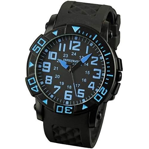 INFANTRY herren-Armbanduhr Herren Uhr Schwarz Quarzuhr Silikon Uhrenarmband