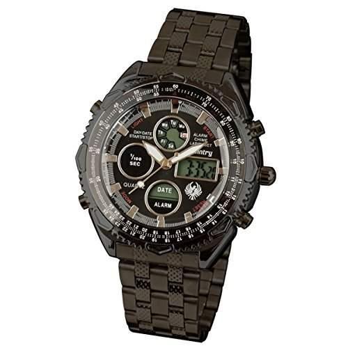 INFANTRY Herren-Armbanduhr schwarz Edelstahl Fliegeruhren Herren Quarzuhr Digital-Analog Uhr MIT Sportuhr Chronograph Alarm