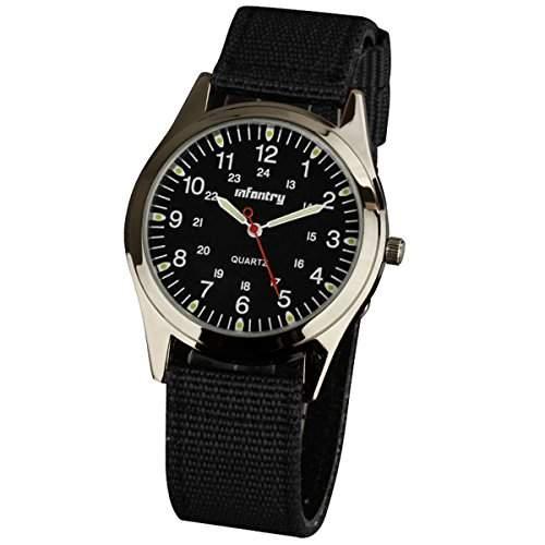 INFANTRY Schwarz Herren-Armbanduhr Herren Uhren Fliegeruhren Armbanduhr Analog Quarzuhr