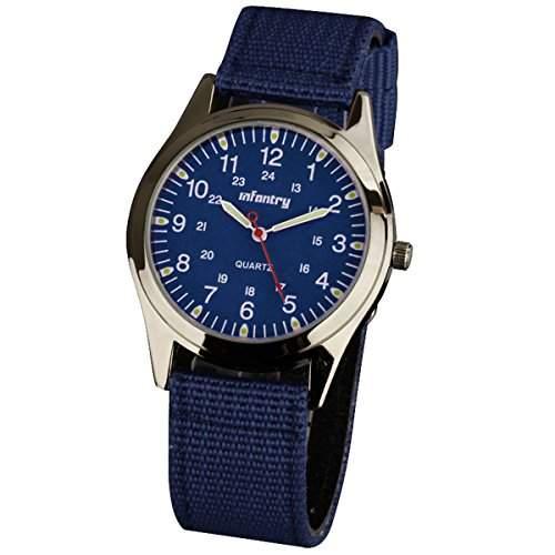 INFANTRY Uhren Herren Quarz Armbanduhren Analog Sportuhr Militaer Marine Blau Outdoor