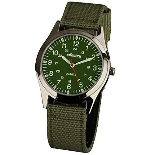INFANTRY Herren-Armbanduhr Quarz - Analog Uhr Herren Militaeruhr Nylon 20mm Armband Armee Gruen